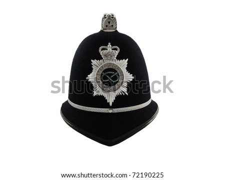 Traditional British Police helmet isolated on white - stock photo
