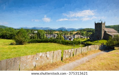 Traditional British village in English Lake District of Hawkshead Cumbria UK in summer with blue sky church and red roses illustration like oil painting
