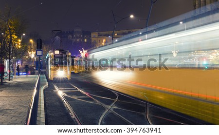 Traditional Budapest Old Tram In The city Center of Budapest,  - stock photo