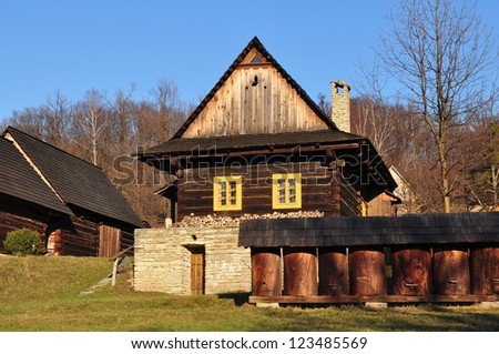 traditional building and bee house in Czech republic