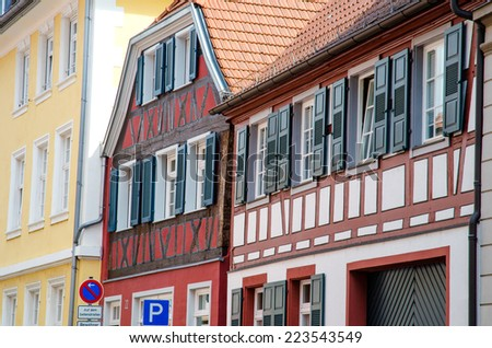 Traditional building facades in Offenburg, Germany. - stock photo