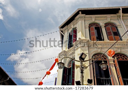 Traditional building structure in Chinatown - stock photo