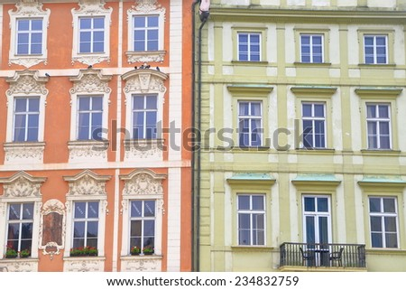 Traditional buildings on the streets of Prague Old Town, Czech Republic - stock photo