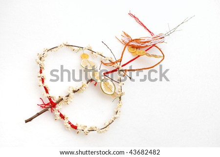 Traditional Bulgarian survachka, a cornel stick carried by carolers with which each one of them pats the backs of their parents, grandparents, and friends, thereby wishing them wealth and happiness - stock photo