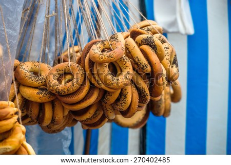 Traditional bunches of bagels (Lithuania, Kaziuko fair) - stock photo