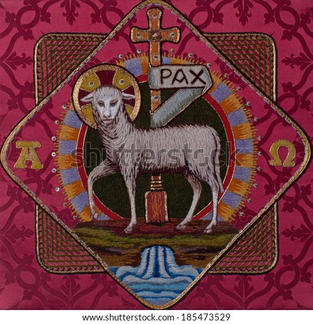 Traditional burse with hand-embroidered Lamb of God Easter symbol, made by Benedictine Sisters in former Art Needlework Department of Saint Benedict's Monastery, St. Joseph, Minnesota - stock photo