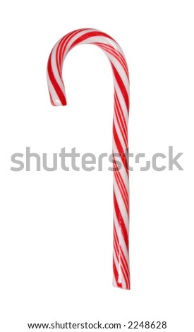 Traditional candy cane isolated on white with clipping path