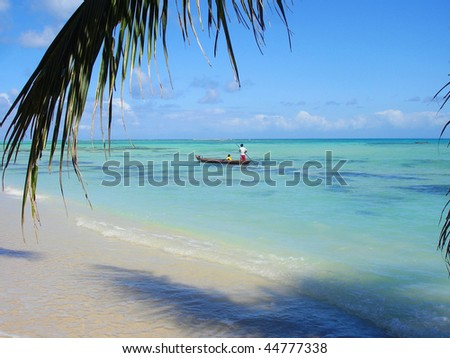 Traditional canoe in Madagascar, Ste Marie island - stock photo