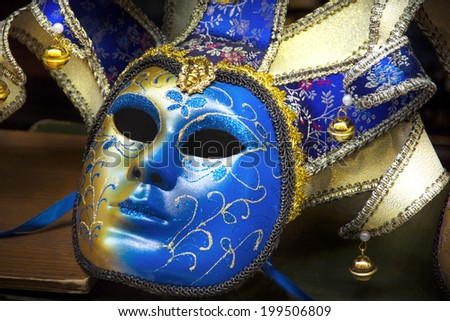 Traditional carnival mask close-up, Venice, Italy - stock photo