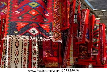 Traditional carpets in Istanbul - stock photo