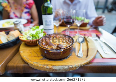 Traditional Cassoulet dish served at a Toulouse restaurant - stock photo
