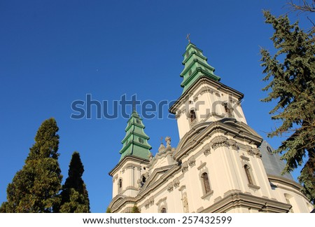 Traditional Catholic Church against the blue sky