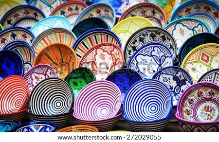 Traditional ceramic pottery in Essaouira, Morocco - stock photo