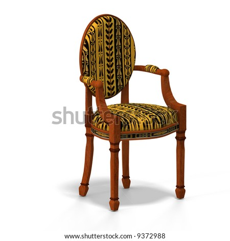 traditional chair with padding (upholstery) contains Clipping Path