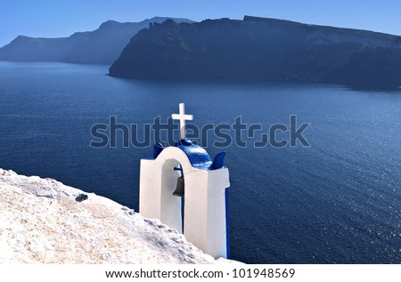 Traditional chapel at Santorini island in Greece - stock photo