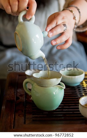 traditional china tea and celadon cups - stock photo