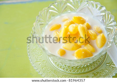 Traditional Chinese and thailand healthy dessert cooked with bean curd skin, gingko nuts, and barley. Suitable for concepts like food and beverage, sweets and desserts, health and nutrition.