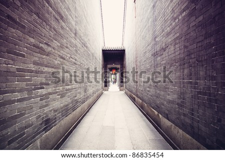 Traditional Chinese architecture, long corridor - stock photo