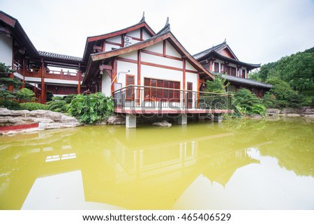 traditional chinese building by the lake,chongqing,china