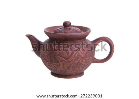 Traditional Chinese clay teapot isolated on white background.