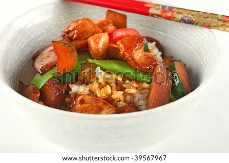 Traditional Chinese Cusine, chicken, water chestnut, bamboo sprout, red peppers, red onion, snow peas with soy sauce over white rice