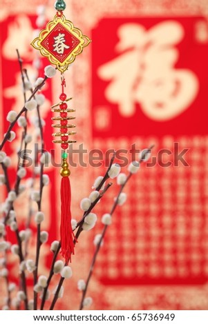 Traditional chinese decorative knot and Siverbud willow on a festive background.Character on knot symbolizes spring festival. - stock photo