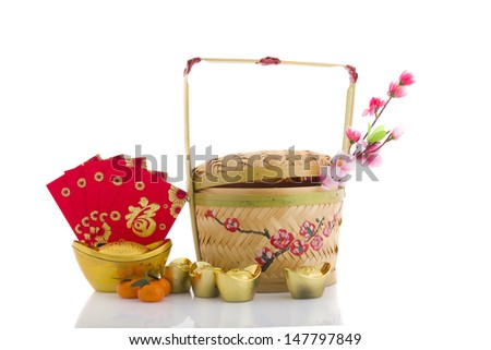 Traditional Chinese Designed Bamboo Basket and new year items - stock photo
