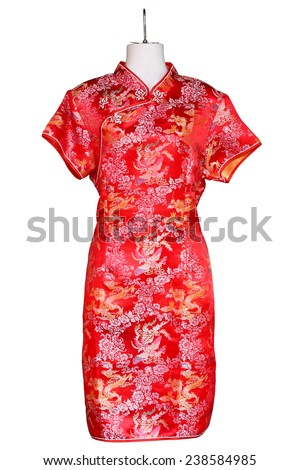 Traditional chinese dress, Isolated on white. - stock photo