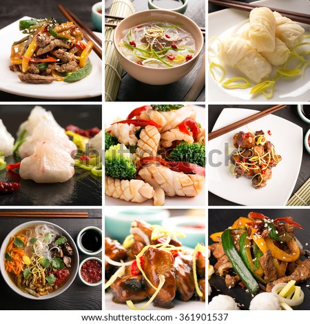 Traditional chinese food photo collage chinese stock photo for Authentic asian cuisine