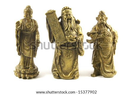 Traditional Chinese Gods and Deities Isolated on a White Background - stock photo