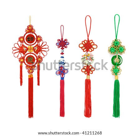 Traditional chinese knots on white background - stock photo