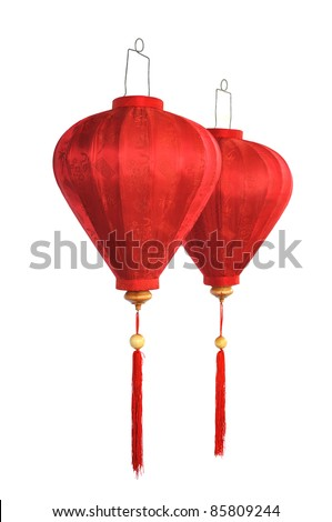 Traditional Chinese lanterns isolated on a white background.