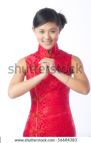 Traditional Chinese looking models pose in the studio