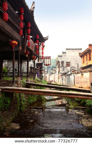 Traditional Chinese old street - stock photo