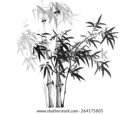 Traditional chinese painting bamboo - stock photo