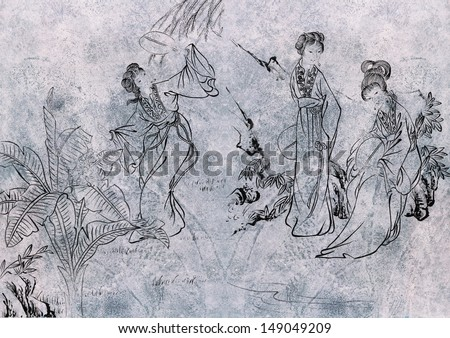 traditional Chinese painting, freehand sketching--nature,flower and people for decoration