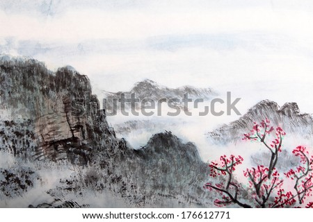 traditional Chinese painting , landscape  - stock photo
