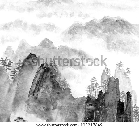 Traditional Chinese painting of high mountain landscape, monochrome tone - stock photo