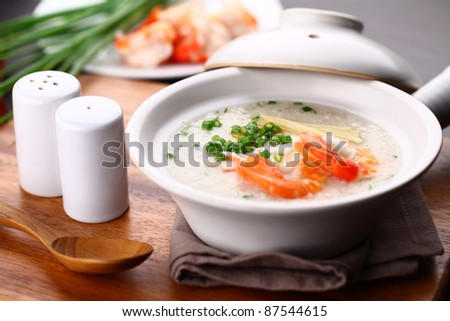 Traditional chinese porridge rice gruel in bowl, congee