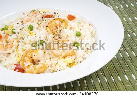 Traditional Chinese Shrimp Fried Rice Dish - stock photo
