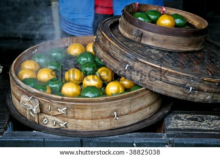 Traditional Chinese steam buns - stock photo
