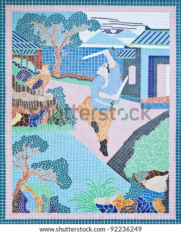 Traditional Chinese style wall mosaic tiles in the temple,Generality in Thailand, any kind of art decorated in Buddhist church etc. created with money donated by people, no restrict in copy or use - stock photo
