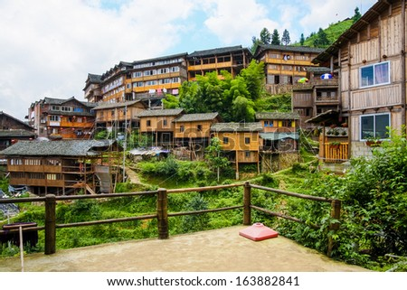 Traditional chinese village wooden houses - stock photo
