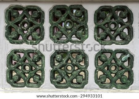 Traditional chinese window wall - stock photo