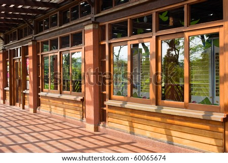 Traditional Chinese wooden building with series windows