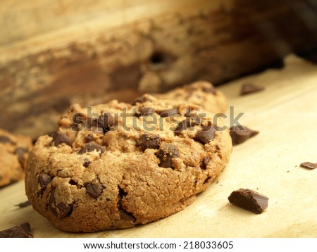 Traditional chocolate chip cookies for afternoon snacks - stock photo