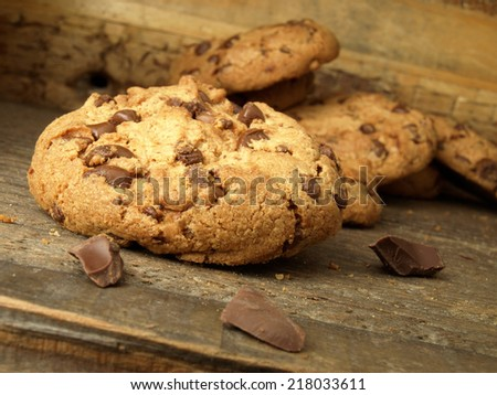 Traditional chocolate chip cookies for breakfast - stock photo