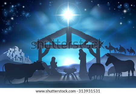 Traditional Christian Christmas Nativity Scene of baby Jesus in the manger with Mary and Joseph in silhouette surrounded by the animals and wise men in the distance with the city of Bethlehem - stock photo