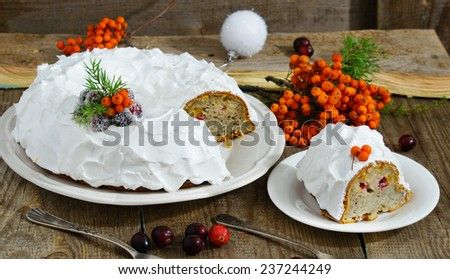 Traditional Christmas banana and New Year cake with frosting - stock photo