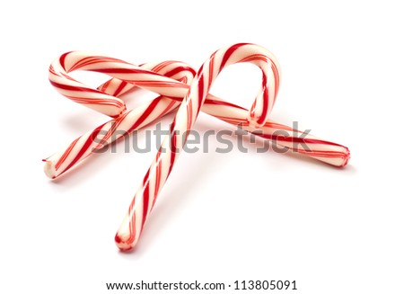 Traditional christmas candy can isolated on white background - stock photo